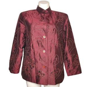 ANAGE Woman Jacket Size 1X 100% Silk Evening Boho